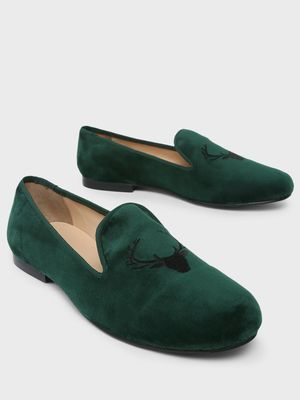 Marcello & Ferri Reindeer Embroidered Loafers