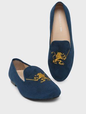 Marcello & Ferri Lion Embroidered Loafers