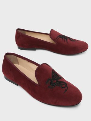 Marcello & Ferri Dragon Embroidered Loafers
