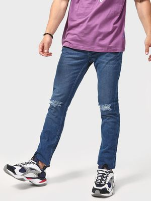 Blue Saint Dark Wash Distressed Regular Fit Jeans