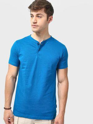 Blue Saint Basic Henley Neck T-shirts