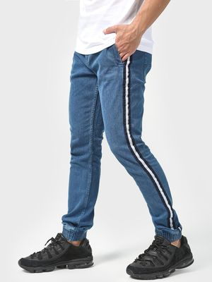 Blue Saint Mid-Wash Side Tape Regular Jeans