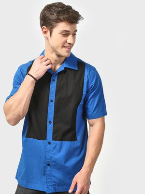 Blue Saint Contrast Colour Block Casual Shirt