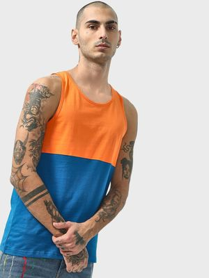 Blue Saint Scoop Neck Colour Block Vest