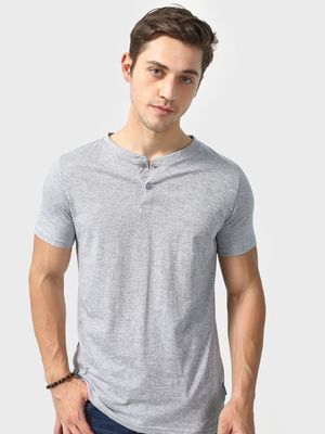 Blue Saint Textured Henley Neck T-shirt