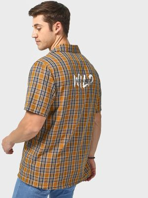 Blue Saint Back Slogan Print Multi Checkered Shirt