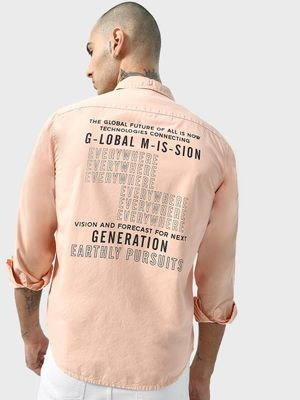 KOOVS Smart Back Slogan Print Shirt