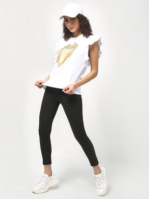 KOOVS Slogan Printed Ruffled Sleeve T-shirt
