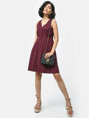 KOOVS Button-Down Mini Skater Dress