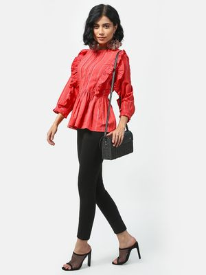 KOOVS Ruffle Pleated Long Sleeve Top