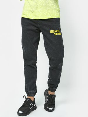 Blue Saint Never Mind Text Print Joggers