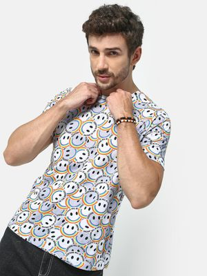 KOOVS Smiley Slogan Print T-shirt