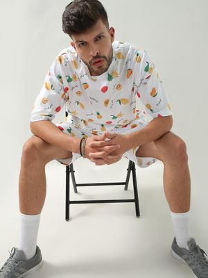 KOOVS Fruit Print Oversized T-Shirt