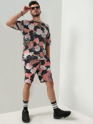 KOOVS Floral And Pug Print Shorts