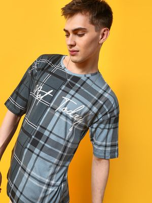 KOOVS Colour Block Check Print T-Shirt