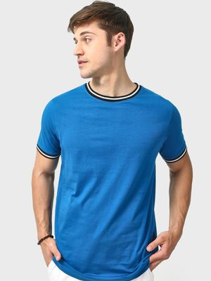 Blue Saint Crew Neck Ringer T-Shirt
