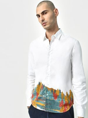 KOOVS Smart Graphic Tree Print Shirt