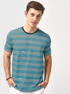 Blue Saint Horizontal Stripe Crew Neck T-Shirt