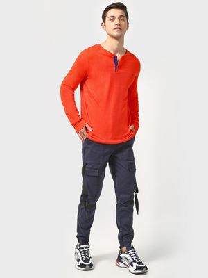 Blue Saint Henley Neck Long Sleeve T-Shirt
