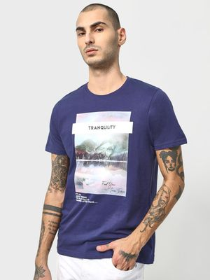 KOOVS Graphic Slogan Print Crew Neck T-shirt