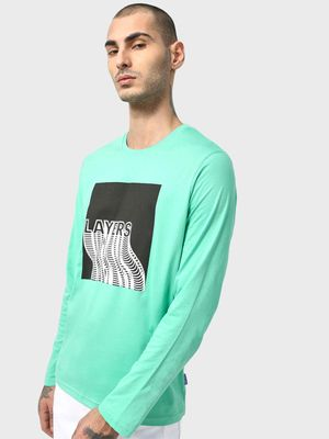 Blue Saint Layers Graphic Print T-Shirt
