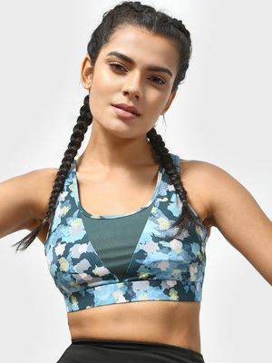 ONE/ZERO BY KOOVS Cut & Sew Camo Print Padded Sports Bra