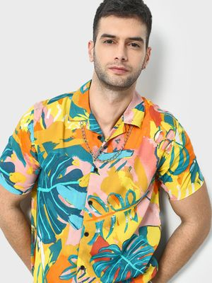 KOOVS Leaf Print Cuban Collar Shirt