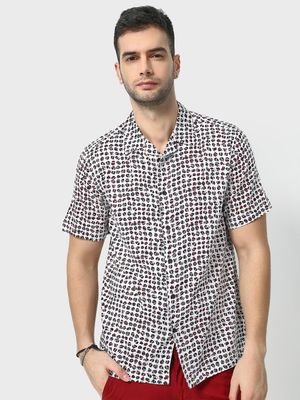 KOOVS All Over Print Cuban Collar Shirt