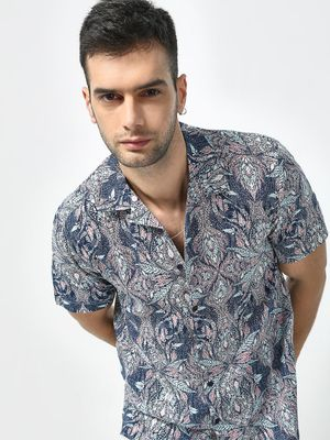 KOOVS Multi Tropical Print Cuban Collar Shirt