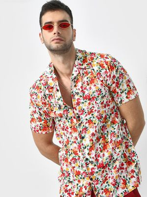 KOOVS Multi Floral Print Cuban Collar Shirt