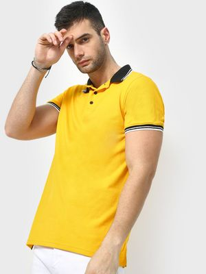 KOOVS Contrast Collar Polo Shirt