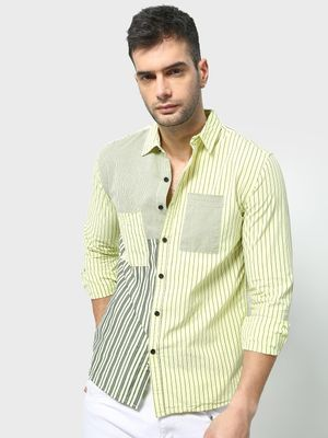 Blue Saint Contrast Vertical Striped Casual Shirt