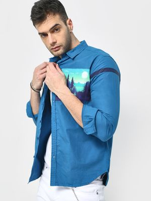 KOOVS Graphic Patch Printed Casual Shirt
