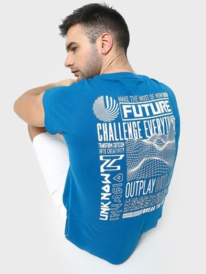 Blue Saint Back Text Print T-shirt
