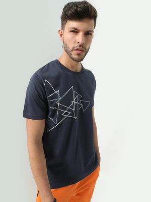 Blue Saint Geometric Print Crew Neck T-shirt