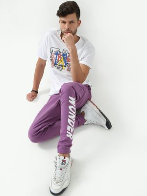 Blue Saint Wonder Text Print Jog Pants