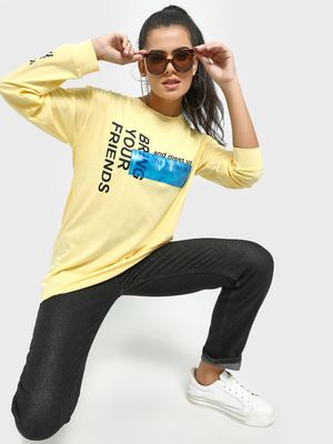 KOOVS Slogan Placement Print Longline T-Shirt
