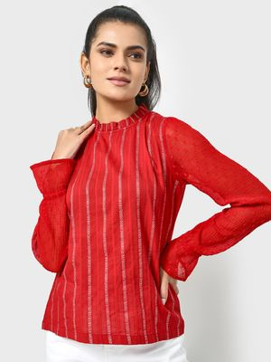 KOOVS Vertical Stipe Frill Neck Blouse