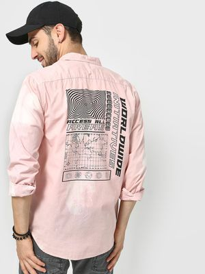 KOOVS Back Abstract Slogan Placement Print Shirt