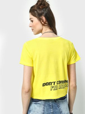 KOOVS Slogan Placement Round Neck Crop T-Shirt