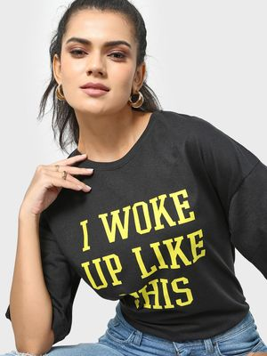 KOOVS Slogan Placement Print Round Neck T-shirt