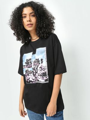 KOOVS Graphic Slogan Print Top