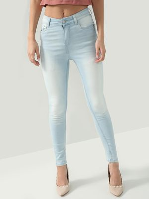 K Denim KOOVS Mid-Rise Light-Wash Denim Jeans