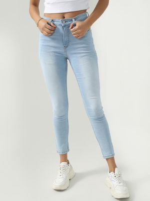 K Denim KOOVS Light-Wash Cropped Denim Jeans