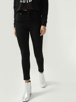 KOOVS Solid High Ankle Skinny Jeans