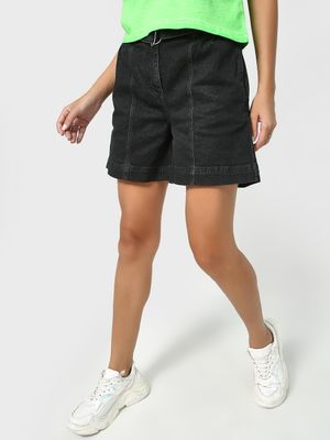 K Denim KOOVS Washed Belted Shorts