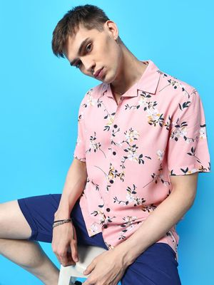 KOOVS Essential Floral Print Cuban Collar Shirt