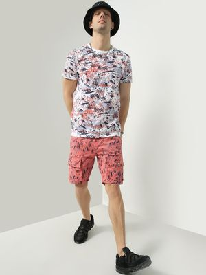 KOOVS Printed Utility Pocket Shorts