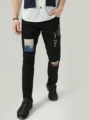 K Denim Koovs Graphic Slogan Print Denim Jeans