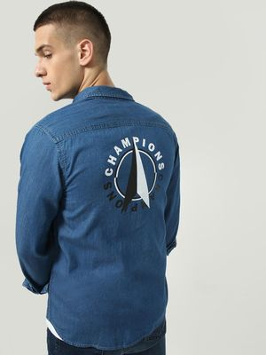 Blue Saint Back Text Placement Print Denim Shirt